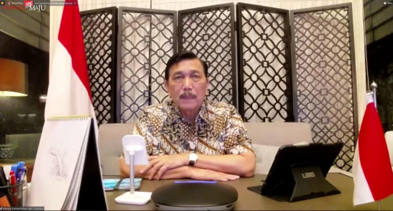 Menteri Koordinator Bidang Kemaritiman dan Investasi (Menko Marves) Luhut Binsar Pandjaitan dalam keterangan pers bersama mengenai perkembangan PPKM terkini, Senin (30/08/2021) malam, secara virtual.