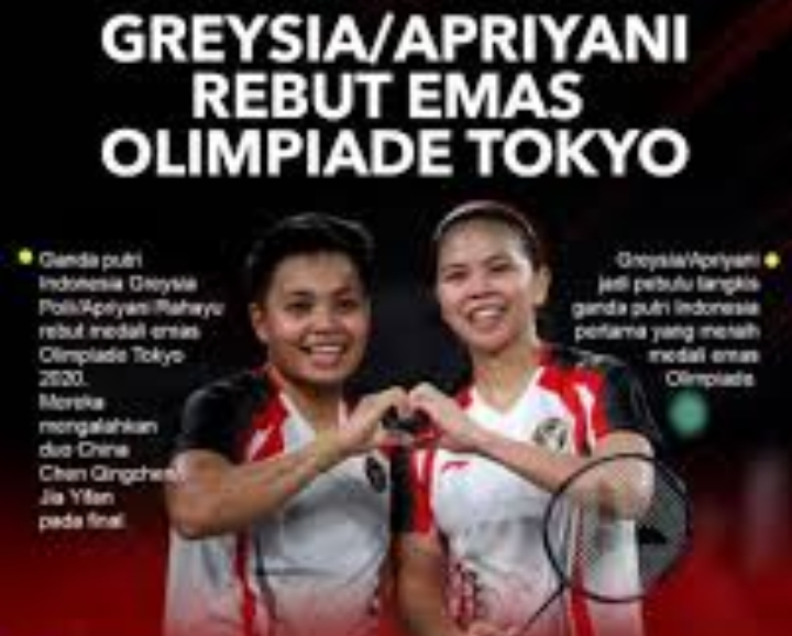 Bulutangkis Putri Indonesia Greysia dan Apriyani Meraih Mendali Emas di Olimpiade Tokyo 2020