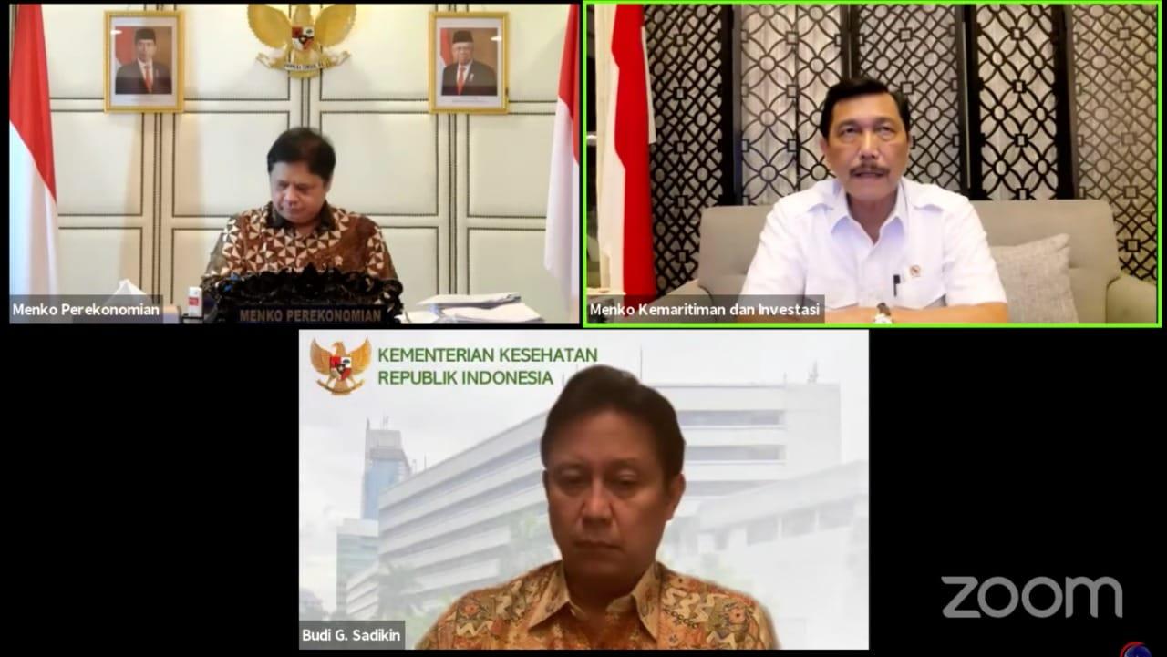 Menteri Koordinator Bidang Kemaritiman dan Investasi (Menko Marves) Luhut Binsar Pandjaitan, dalam Keterangan Pers mengenai Perkembangan Pemberlakukan Pembatasan Kegiatan Masyarakat (PPKM) Terkini, Senin (13/09/2021) malam, secara virtual.