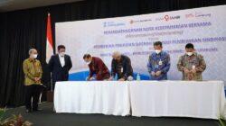 Penandatanganan Nota Kesepahaman (MoU) yang disaksikan langsung Gubernur Provinsi Sumsel H. Herman Deru di Hotel Arista Palembang, Rabu (6/10).